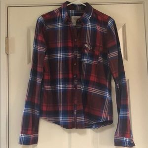 Abercrombie and Fitch Red and Blue Flannel